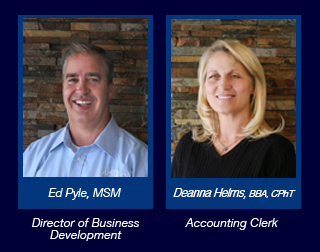 Ed Pyle, MSM is the Director of Business Development and Deanna Helms, B B A, CPhT is the Accounting Clerk