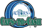 This graphic shows the Auburn Caps to Cash logo