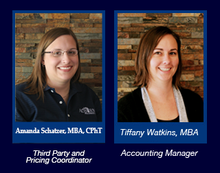 Pictured is Amanda Schatzer, MBA, CPhT the Third Party Coordinator  and Tiffany Watkins, MBA the Account Manager