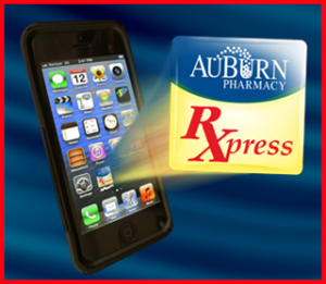 This graphic shows AuBurn Pharmacy RXpress App